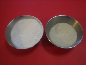 Ground cane sugar on left, regular cane sugar on right.