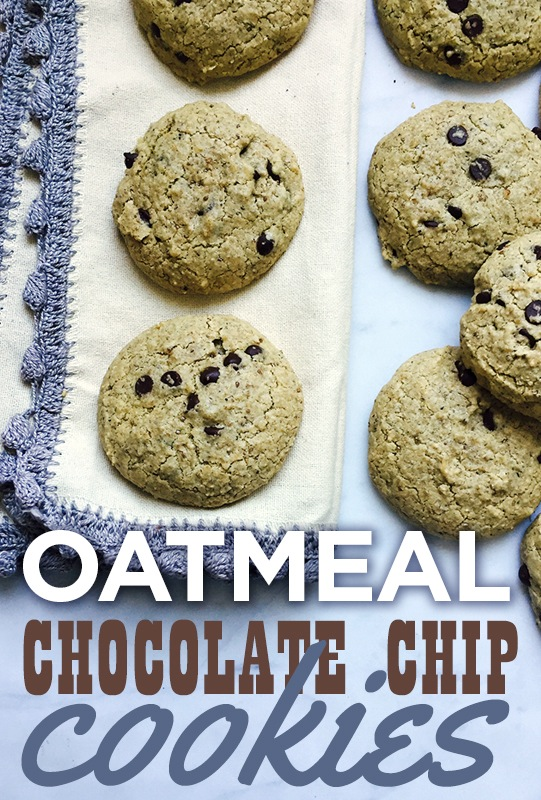 Oatmeal Chocolate Chip Cookies #gf #df #ef from She Let Them Eat Cake.com